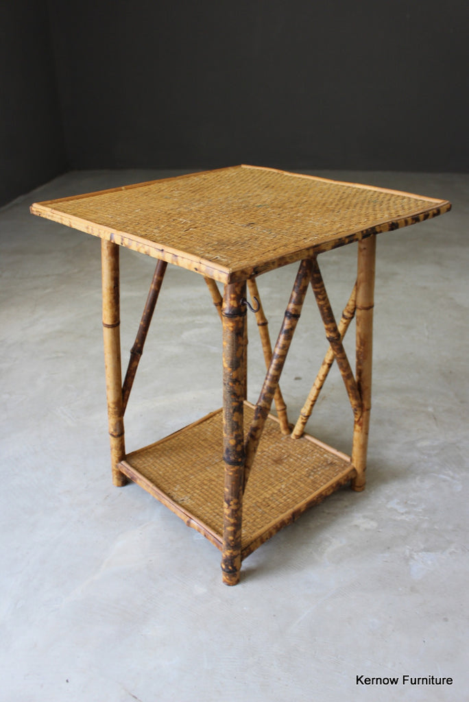 Vintage Bamboo Square Side Table - Kernow Furniture