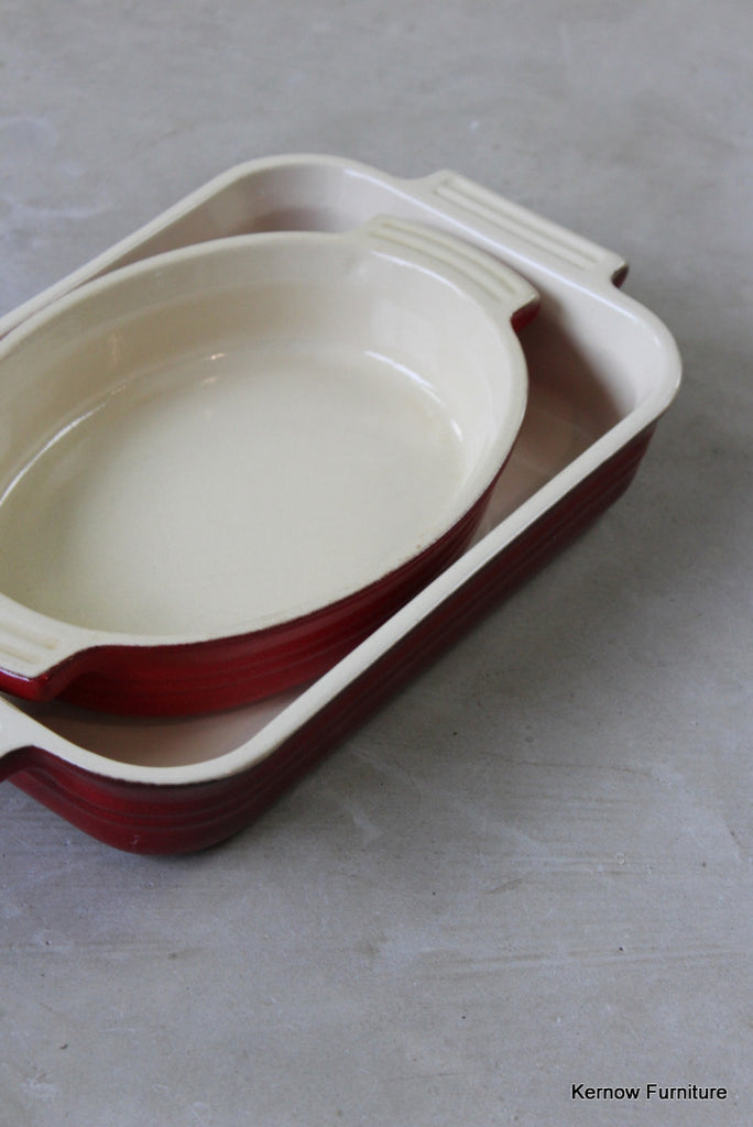 Pair Le Crueset Red Oven Dishes - Kernow Furniture