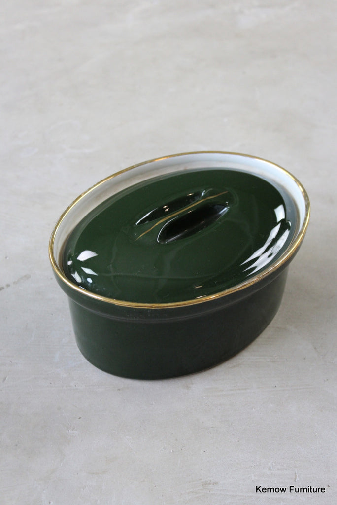 Apilco French Green & Gold Casserole Dish - vintage retro and antique furniture