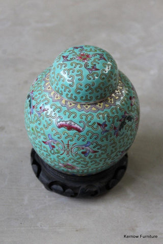 Chinese Famille Rose Ginger Jar on Stand