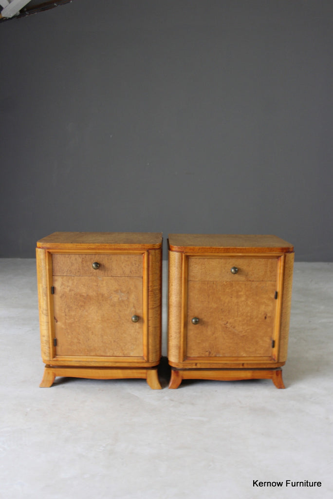 Pair French Style Burr Maple Bedside Cabinets