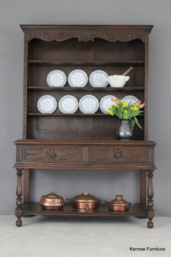 Victorian Style Dark Oak Dresser - Kernow Furniture