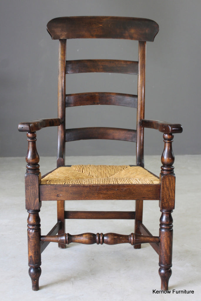 Antique Rush Ladderback Chair - Kernow Furniture