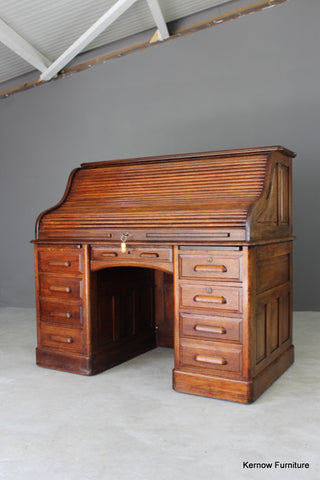 Antique Oak Tambour Roll Top Desk - Kernow Furniture