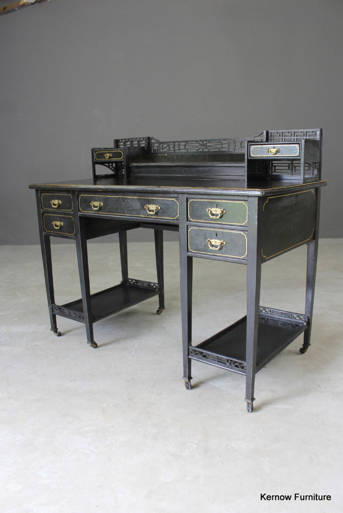 Black Aesthetic Movement Desk - vintage retro and antique furniture