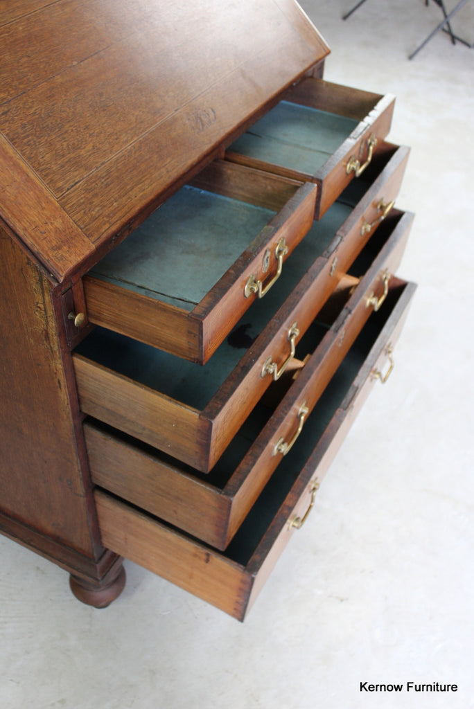 Antique Oak Writing Bureau - Kernow Furniture