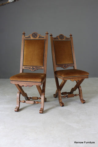 Pair Victorian Inlaid Ecclesiastical Chairs