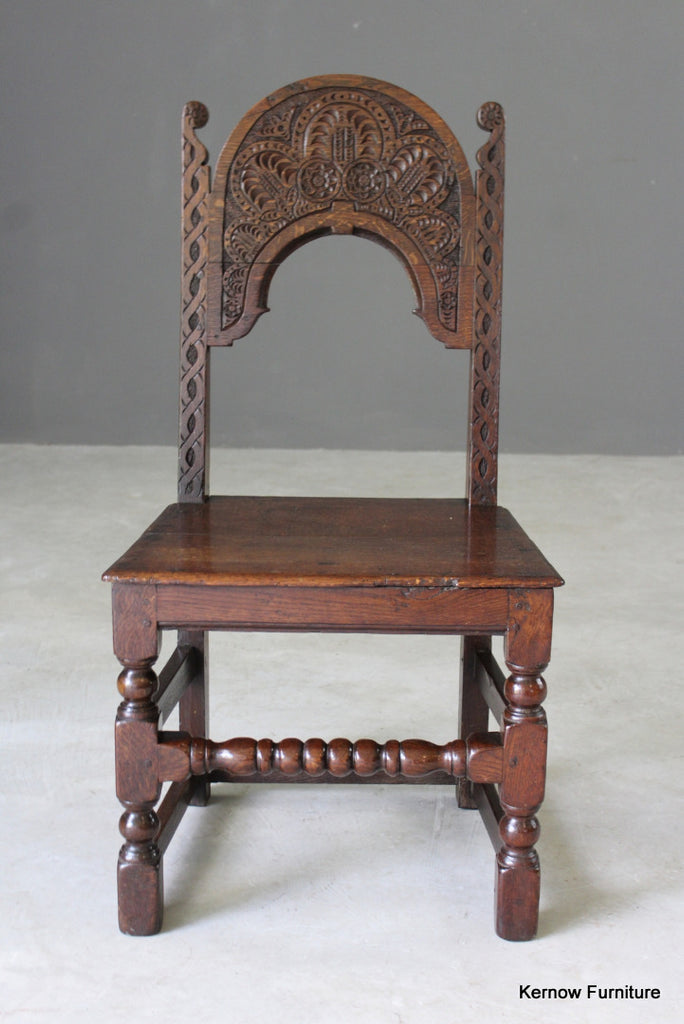 17th Century Style Carved Oak Side Chair - vintage retro and antique furniture
