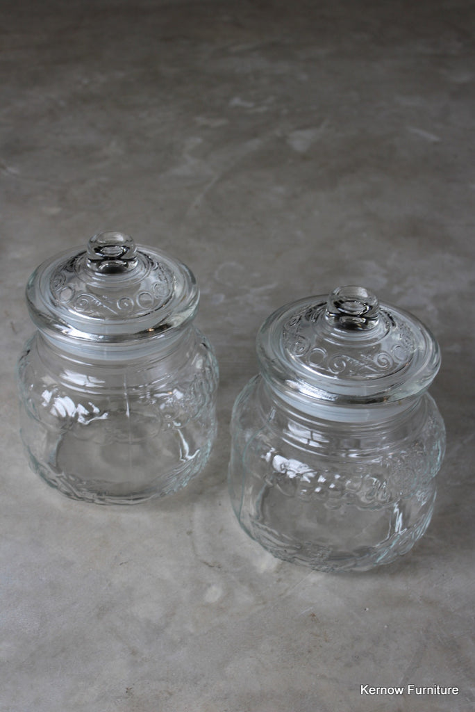 Pair Italian Glass Storage Jars
