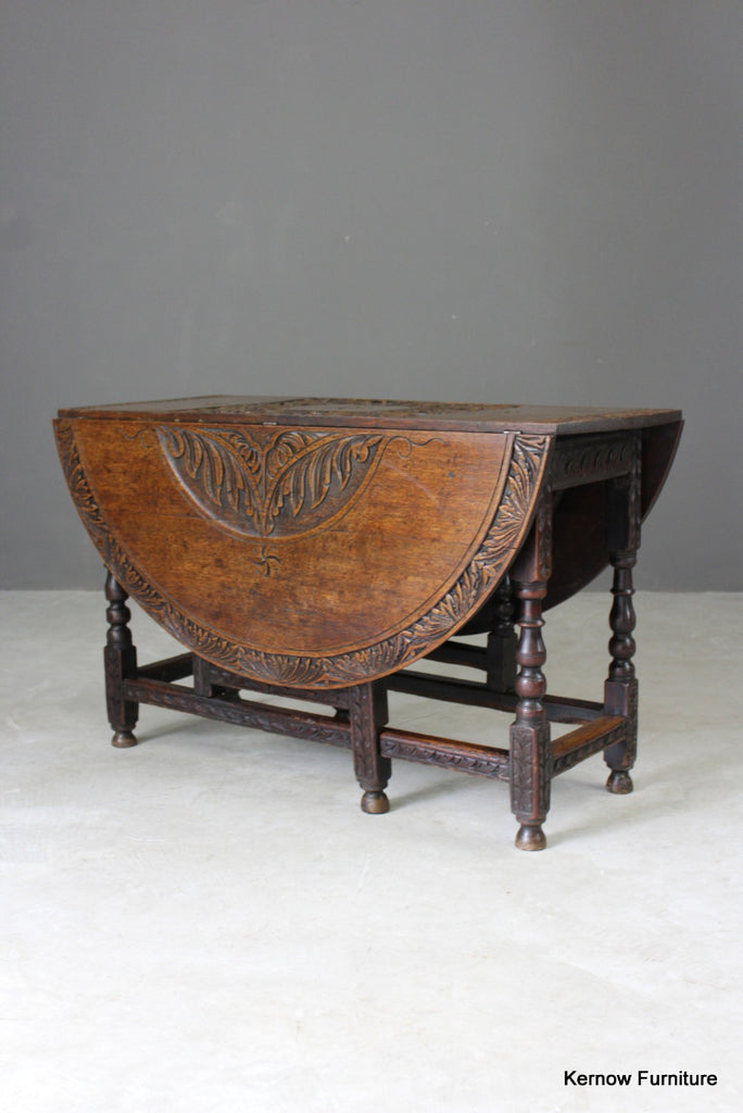 17th / 18th Century Carved Oak Gate Leg Dining Table - Kernow Furniture
