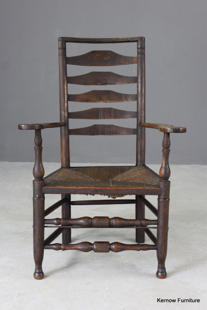 Antique Oak & Elm Ladderback Chair - vintage retro and antique furniture