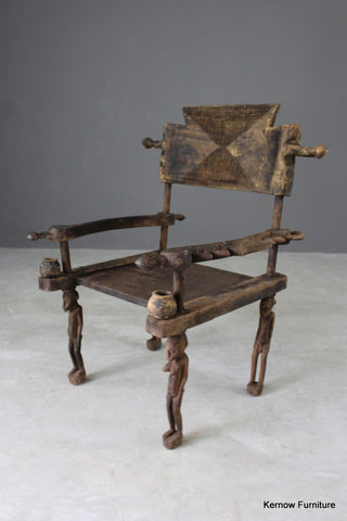Carved African Tribal Chiefs Chair