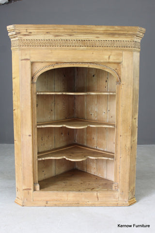Antique Pine Hanging Corner Cupboard - vintage retro and antique furniture