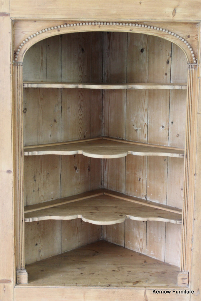 Antique Pine Hanging Corner Cupboard - Kernow Furniture