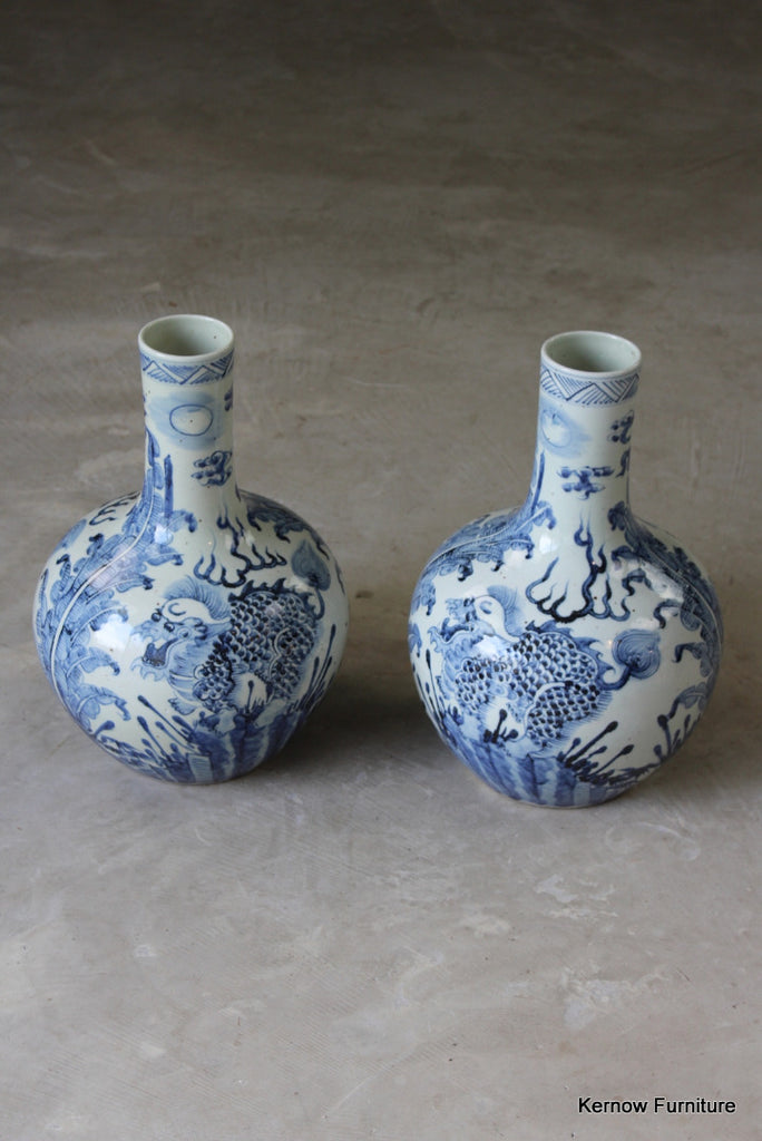 Pair Antique Chinese Blue & White Bottle Vases - Kernow Furniture