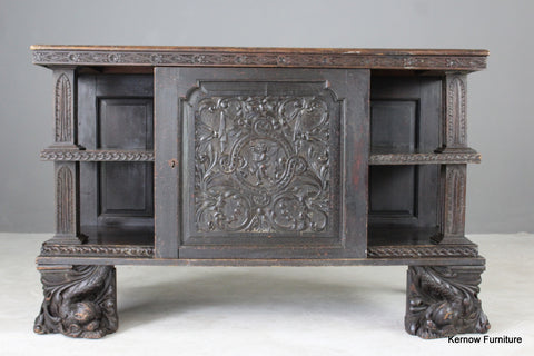 Early Carved Oak Cabinet
