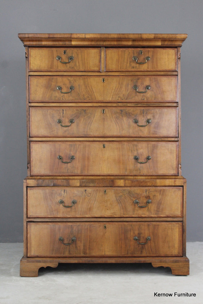 Antique Walnut Chest on Chest - vintage retro and antique furniture