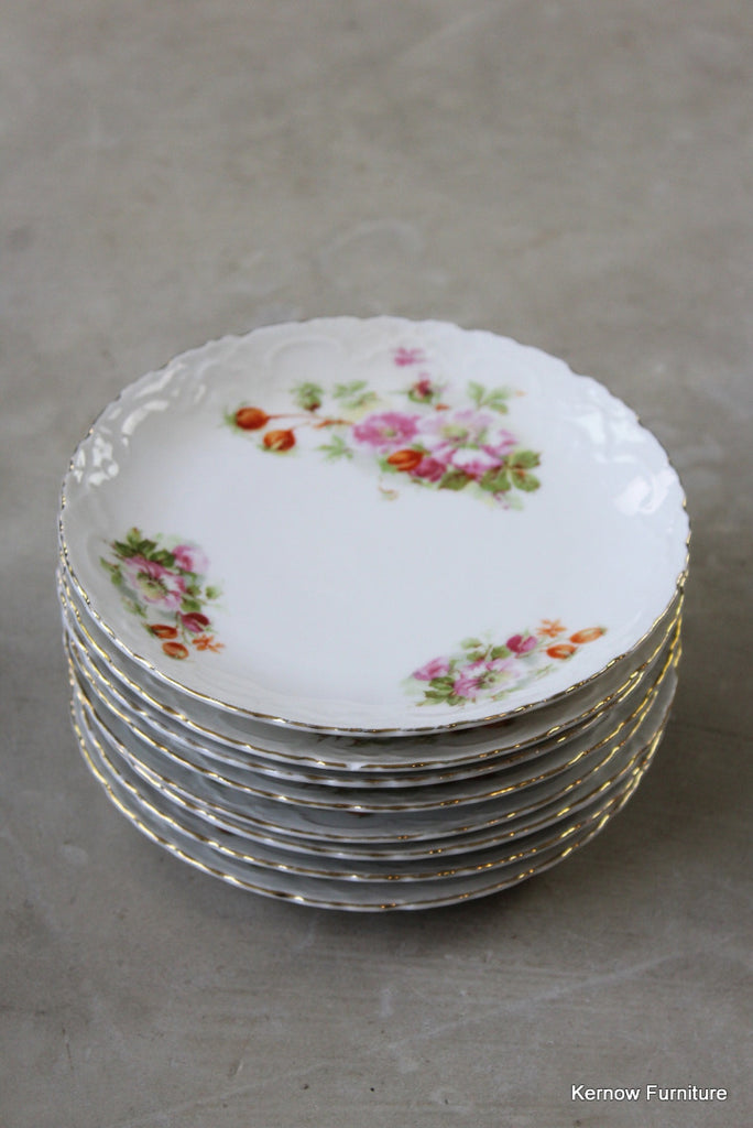 8 Vintage Floral China Plates - vintage retro and antique furniture