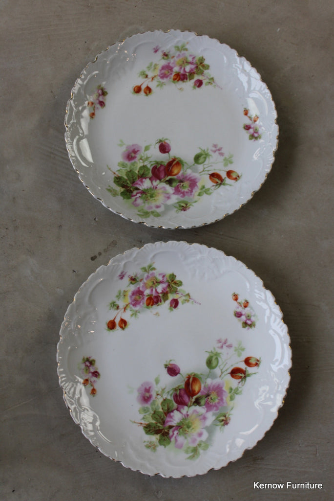 Pair Vintage China Floral Cake Plates