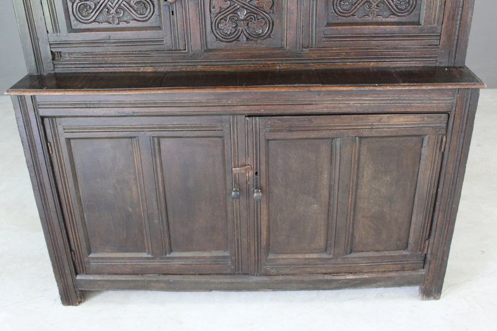 Antique Carved Oak Court Cupboard - Kernow Furniture