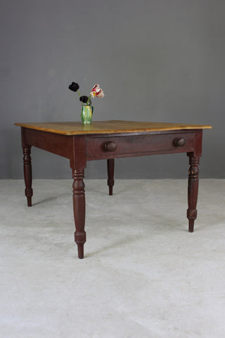Victorian Pine Kitchen Table - Kernow Furniture