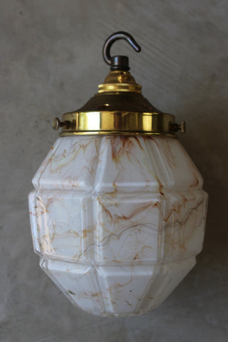Art Deco Mottled Pendant Light - vintage retro and antique furniture