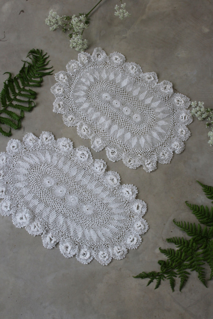 Pair Vintage Lace Table Mats