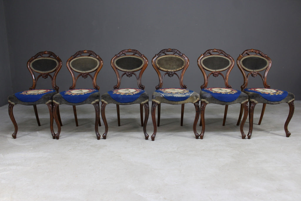 6 Antique Walnut Dining Chairs - vintage retro and antique furniture