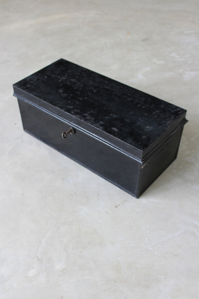 Vintage Black Documents Tin & Key