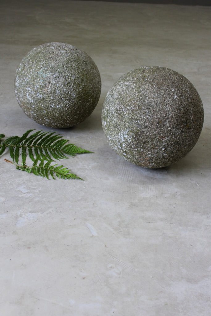 Pair Large Granite Balls