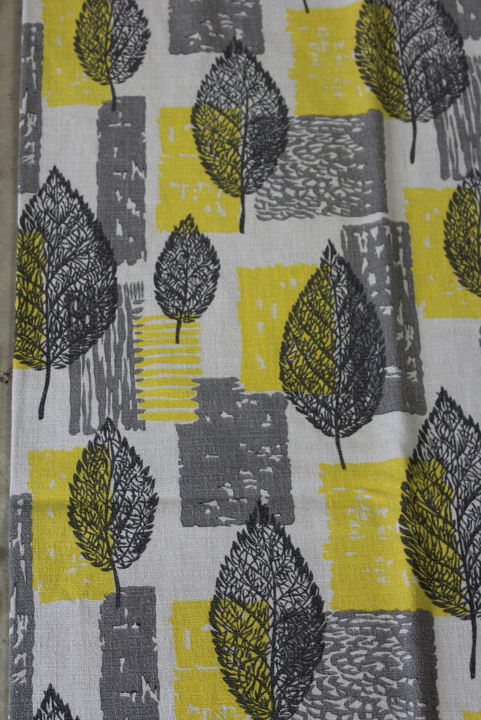 Yellow & Grey Leaf Vintage Barkcloth Curtains - Kernow Furniture