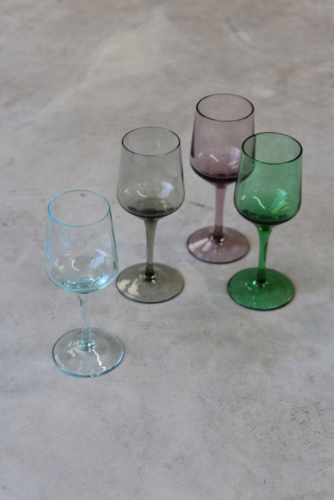 4 Coloured Glass Liquer Glasses - vintage retro and antique furniture