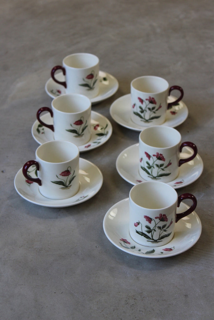 6 Wedgwood Mayfield Coffee Cups Saucers - vintage retro and antique furniture