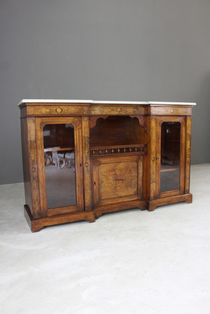 Antique Victorian Inlaid Walnut Credenza - vintage retro and antique furniture