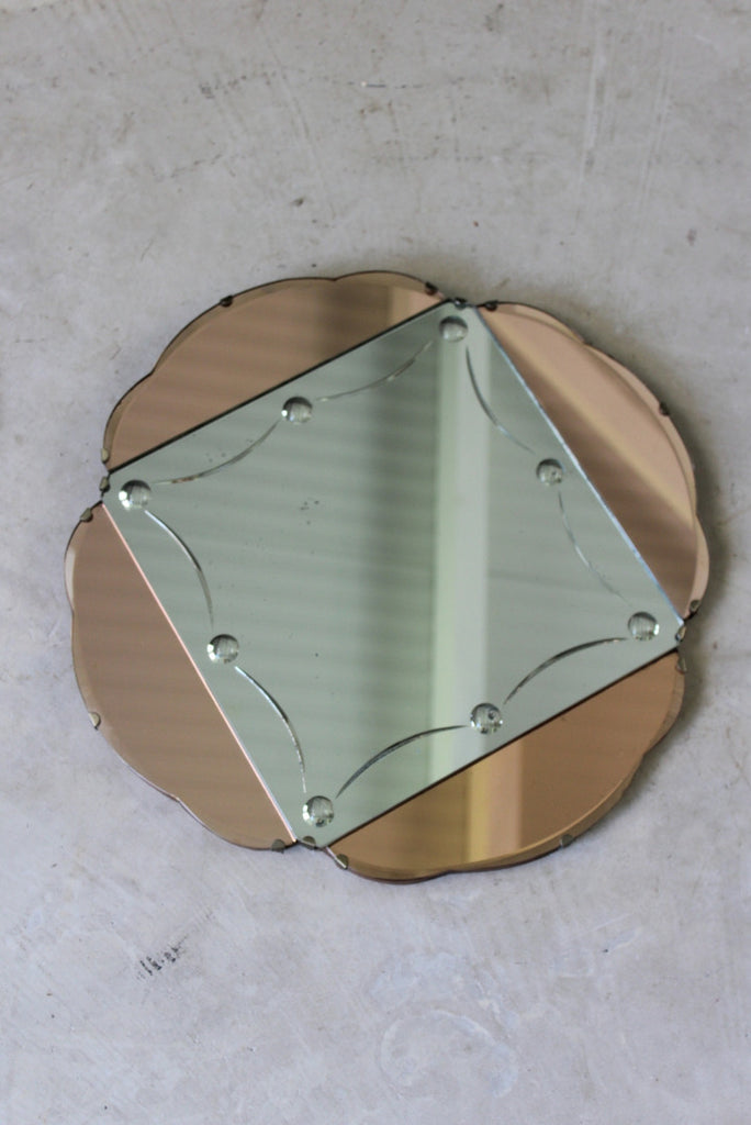 Art Deco Peach Glass Wall Mirror - vintage retro and antique furniture