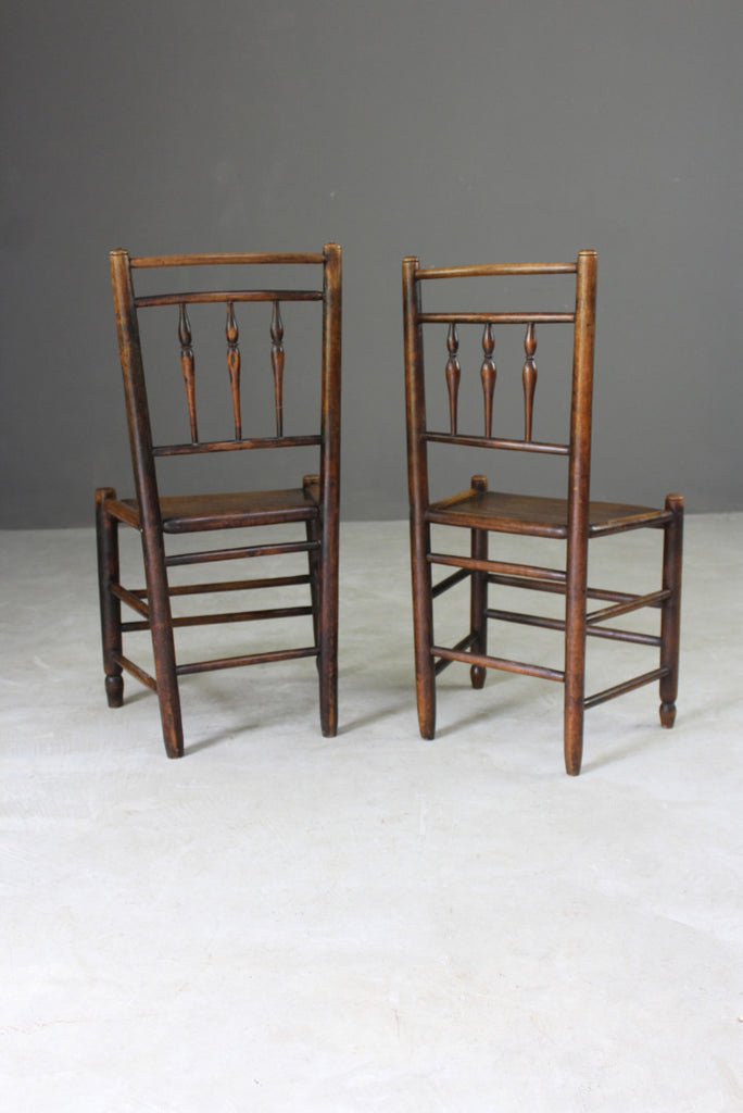 Pair Country Made Spindle Back Chairs - Kernow Furniture