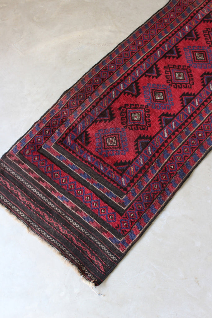 Red Afghan Wool Runner