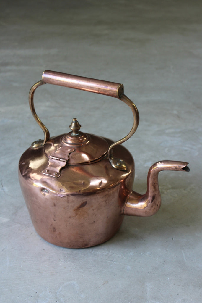 Antique 8 Pint Copper Kettle - vintage retro and antique furniture