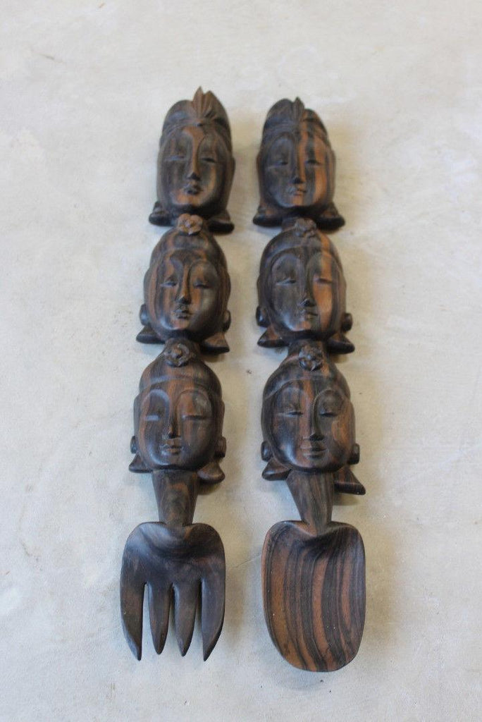 Large Carved Salad Servers - Kernow Furniture