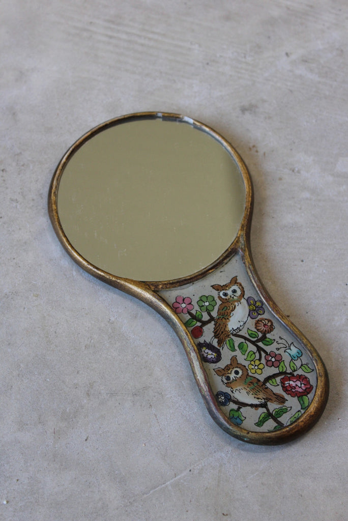 Vintage Reverse Painted Glass Hand Mirror - Kernow Furniture