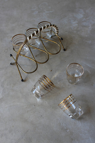 6 Retro Shot Glasses & Holder - vintage retro and antique furniture