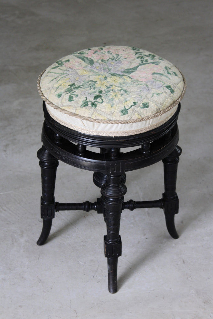 Antique Victorian Ebonised Piano Stool - vintage retro and antique furniture