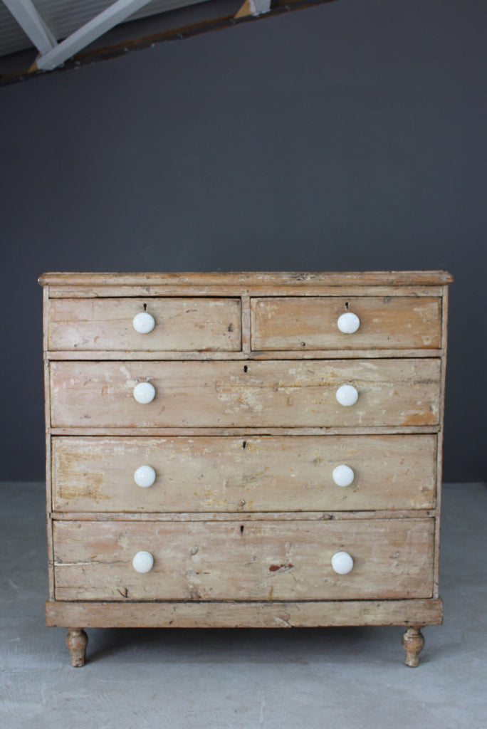 Antique Rustic Pine Chest of Drawers - vintage retro and antique furniture