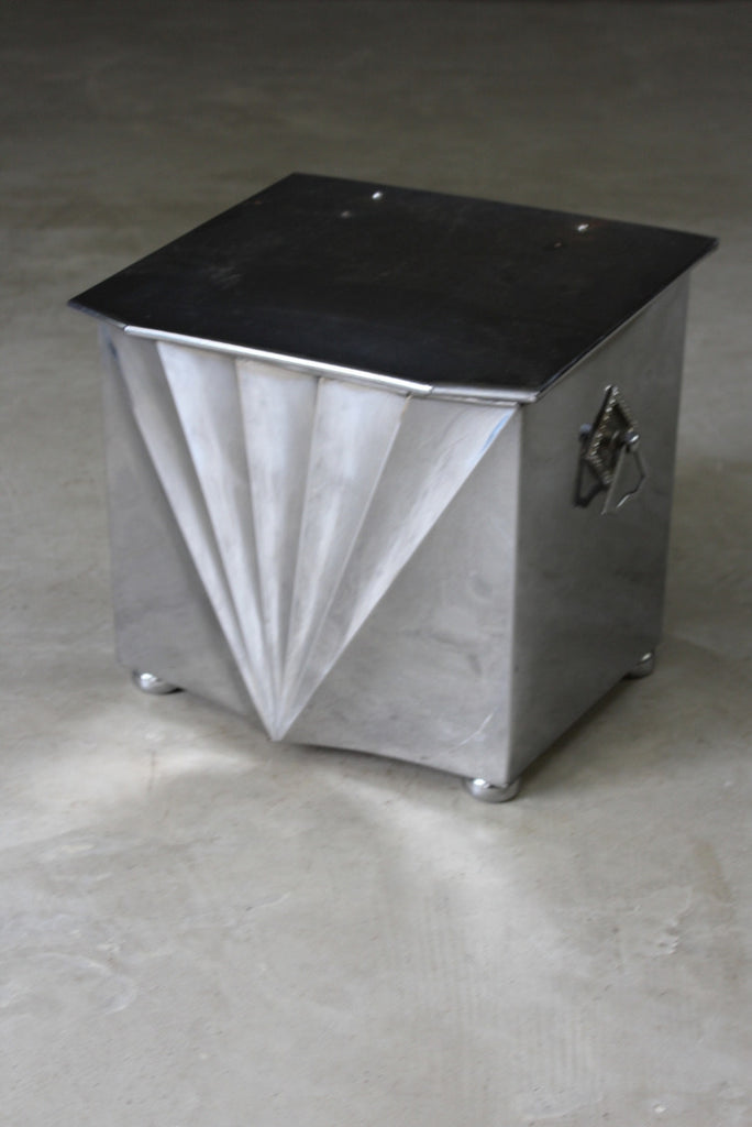 Art Deco Chromium Coal Bucket - vintage retro and antique furniture