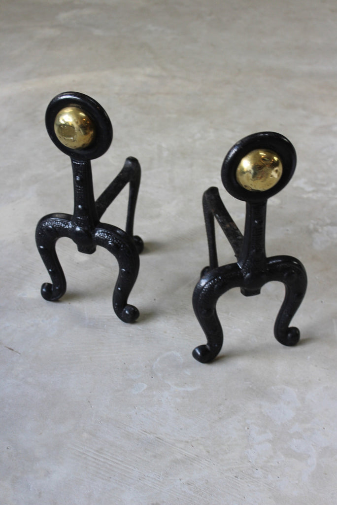 Pair Cast Iron Art Nouveau Fire Dogs