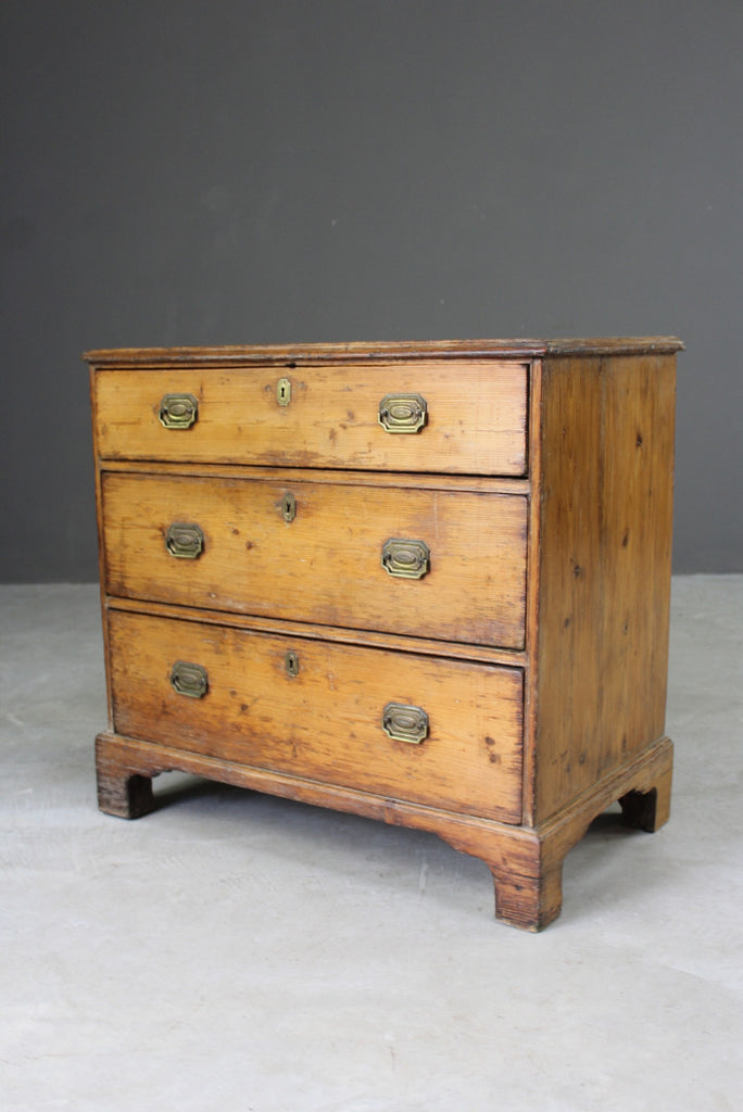 antique rustic small pine chest of drawers