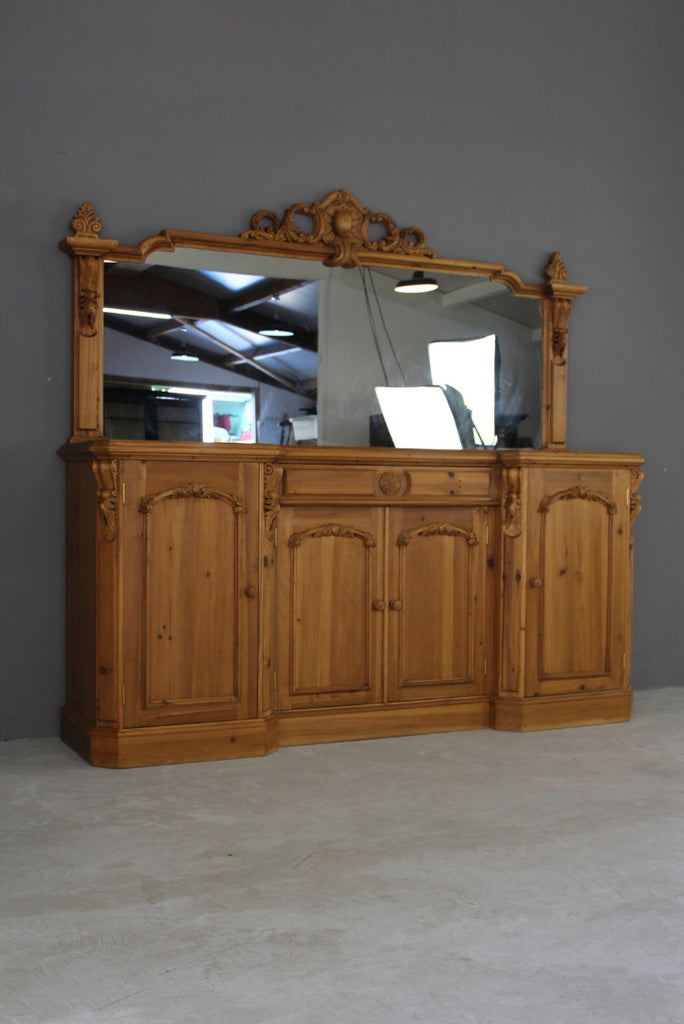 large antique style modern pine mirror back dresser sideboard
