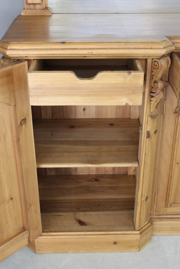 Large Pine Mirror Back Sideboard - Kernow Furniture