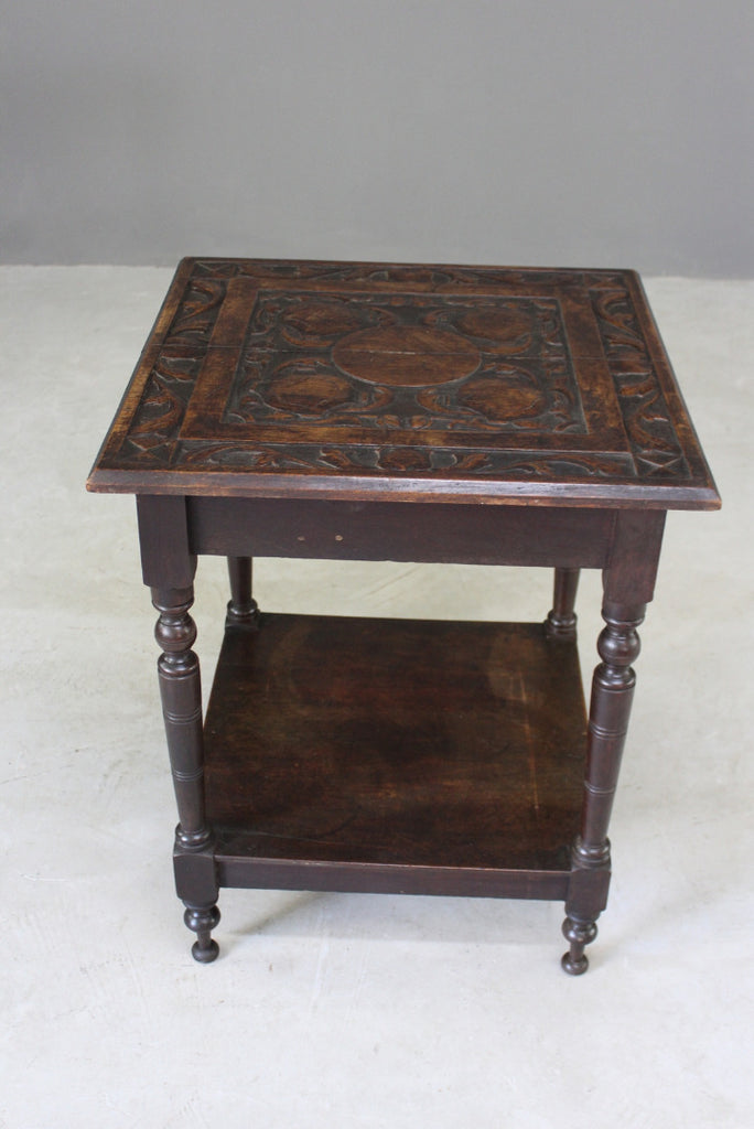 Carved Square Occasional Table - Kernow Furniture
