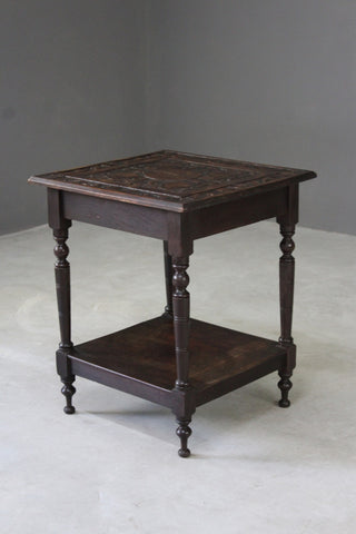edwardian arts crafts carved occasional table